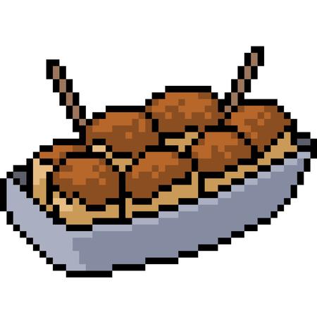 Vector pixel art takoyaki isolated cartoon