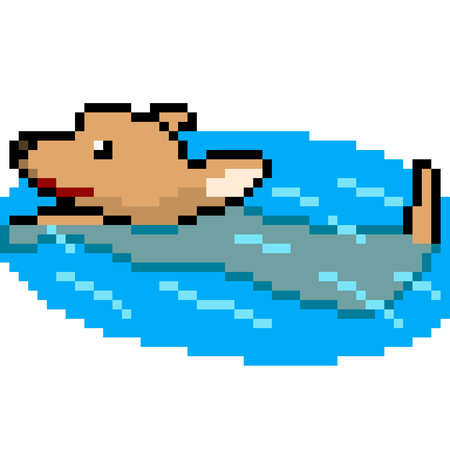 Vector pixel art dog swim isolated cartoon