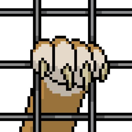 vector pixel art animal prisoner isolated cartoon Vector Illustration