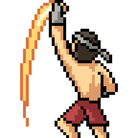 vector pixel art muay thai uppercut isolated cartoon