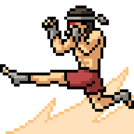 vector pixel art muay thai jump kick isolated cartoon