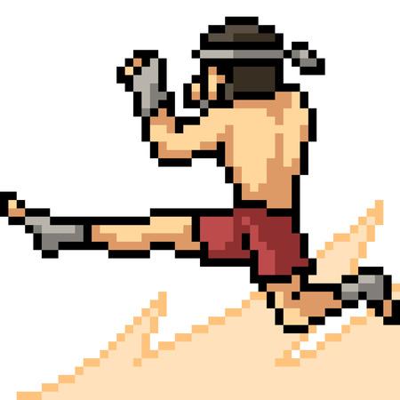 vector pixel art muay thai jump kick isolated cartoon