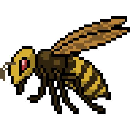 vector pixel art bee isolated cartoon