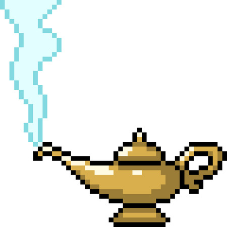 vector pixel art genie in lamp isolated cartoon