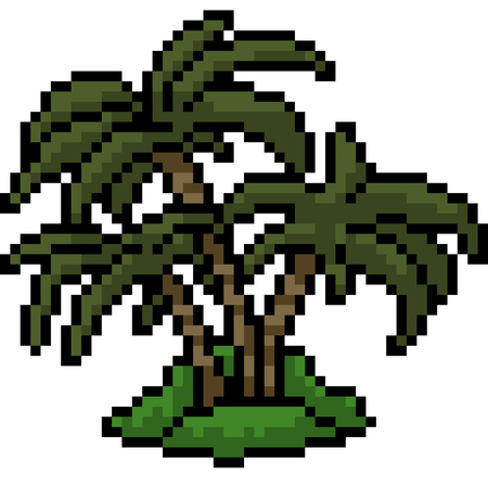 vector pixel art palm tree isolated cartoon