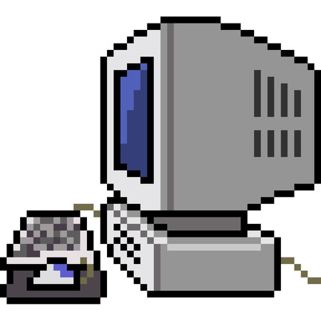 vector pixel art outdated computer isolated cartoon 向量圖像