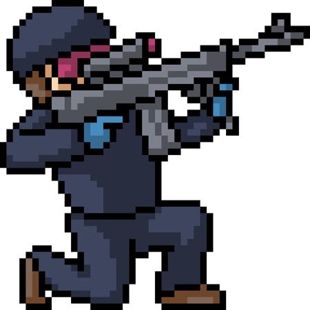 vector pixel art sniper isolated cartoon