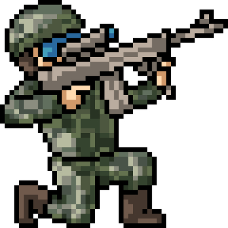vector pixel art soldier sniper isolated cartoon