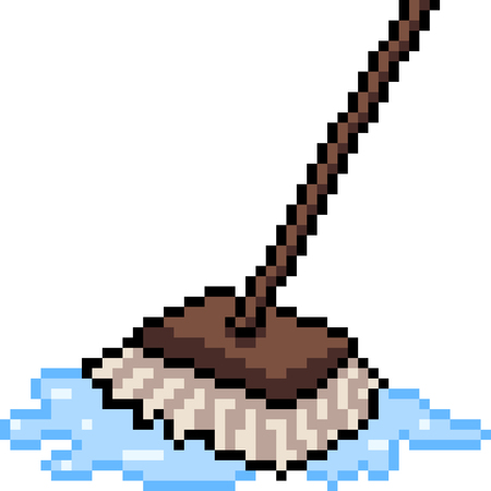 vector pixel art mop isolated cartoon