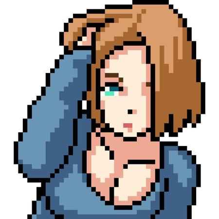 vector pixel art anime girl isolated cartoon Illustration