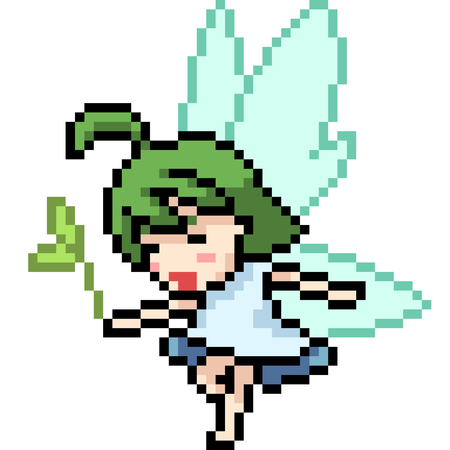 vector pixel art fairy isolated cartoon 向量圖像