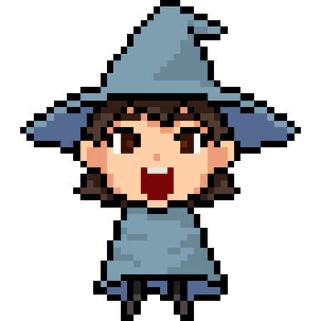 vector pixel art wizard kid isolated cartoon Ilustracja