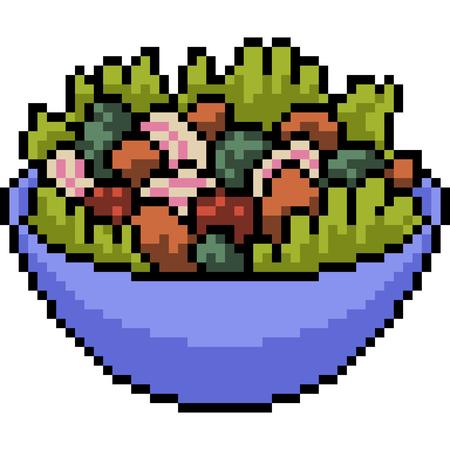 vector pixel art mix salad isolated cartoon