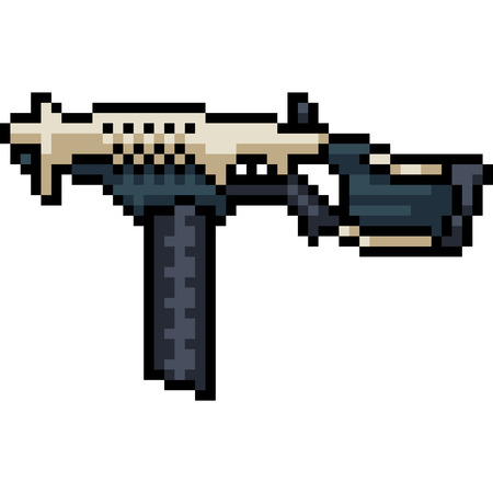 vector pixel art sci fi machine gun isolated cartoon Ilustrace
