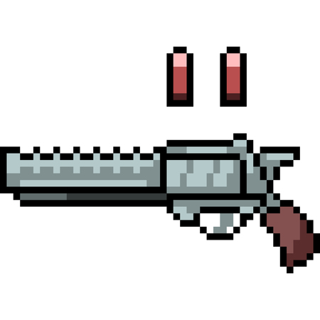 vector pixel art gun isolated cartoon