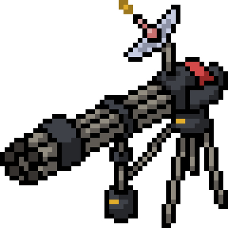 vector pixel art gatling gun isolated cartoon Иллюстрация