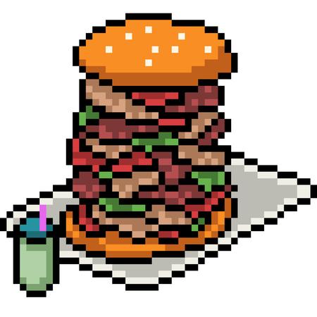 vector pixel art burger isolated cartoon