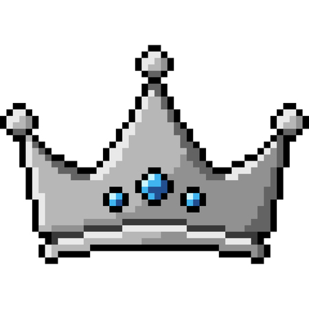 vector pixel art crown isolated cartoon Çizim