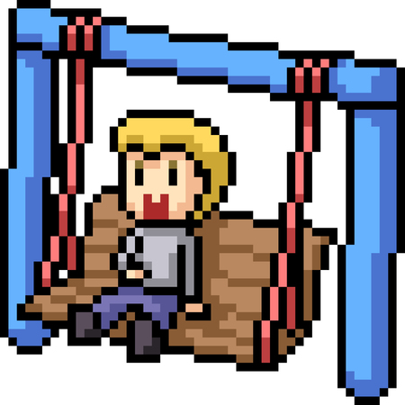 vector pixel art swing boy isolated cartoon