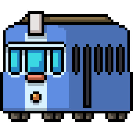 vector pixel art old tram isolated cartoon