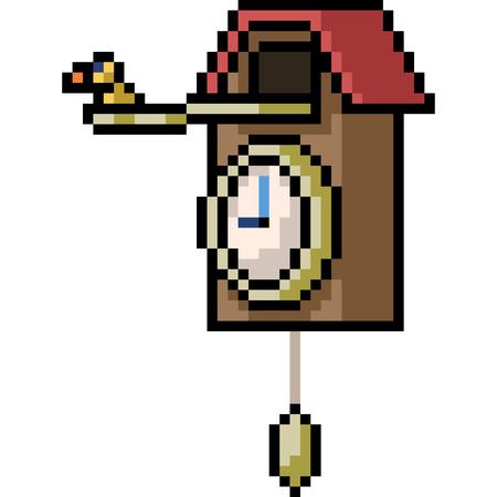 vector pixel art alarm clock isolated cartoon 일러스트