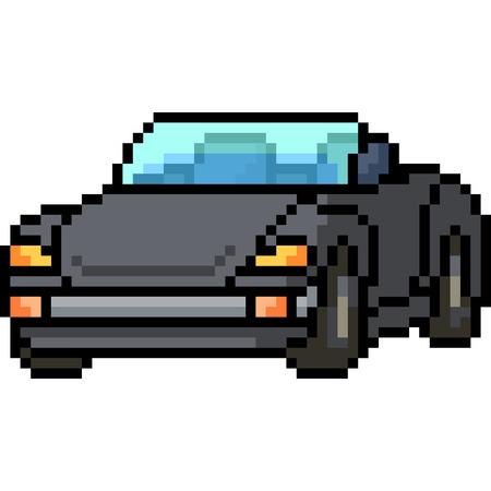 vector pixel art convertible car isolated cartoon
