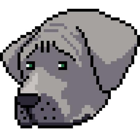 vector pixel art dog regret isolated cartoon
