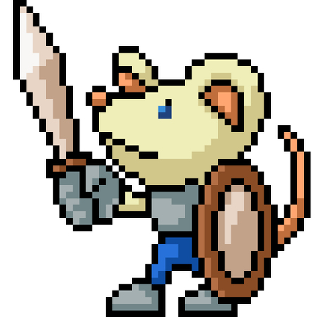 vector pixel art knight mouse isolated cartoon