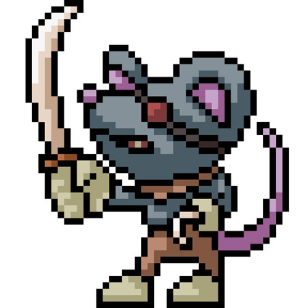 vector pixel art pirate mouse isolated cartoon