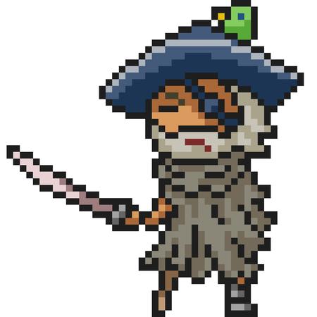 Vektor Pixel Kunst Pirat Krieger isoliert Cartoon