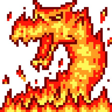 vector pixel art fire dragon isolated cartoon Ilustração