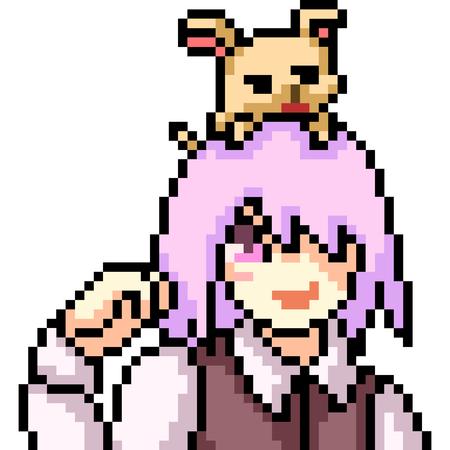 vector pixel art anime girl isolated cartoon Standard-Bild - 114709860