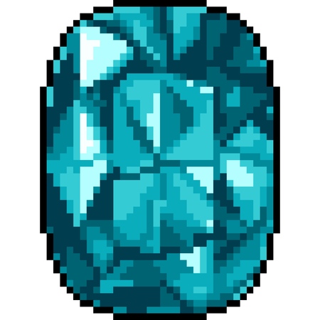 vector pixel art jewelry gemstone isolated cartoon
