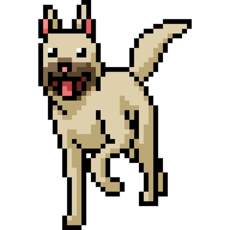 vector pixel art dog friendly isolated cartoon Ilustrace