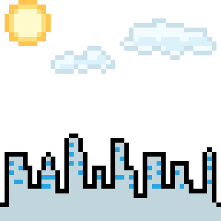 vector pixel art city day isolated cartoon