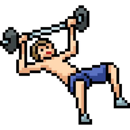 vector pixel art fitness man isolated cartoon Illustration