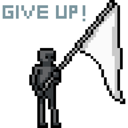 vector pixel art give up flag isolated cartoon