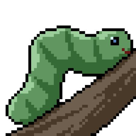 vector pixel art worm isolated cartoon
