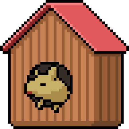 vector pixel art pet house isolated cartoon Ilustrace