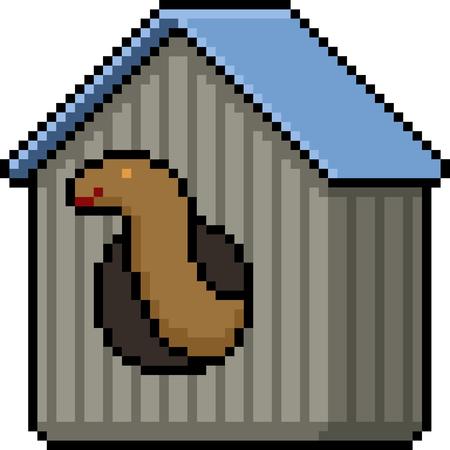 vector pixel art pet snake house isolated cartoon