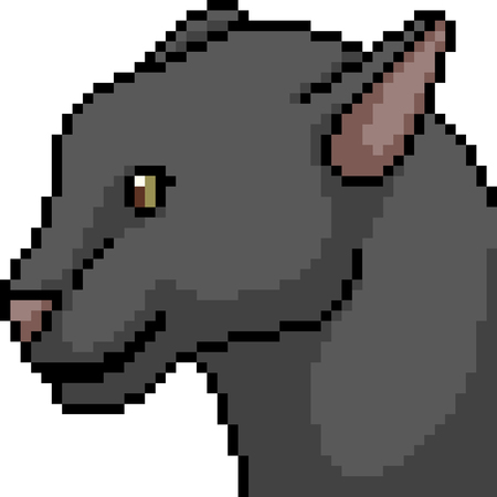 vector pixel art black panther head isolated cartoon 向量圖像