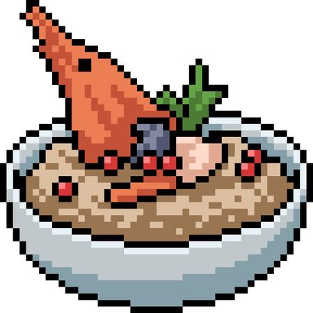 vector pixel art food restaurant isolated cartoon Illustration