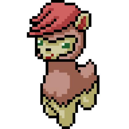 vector pixel art punk alpaca isolated cartoon Иллюстрация