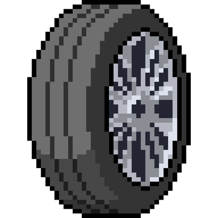vector pixel art car wheel isolated cartoon