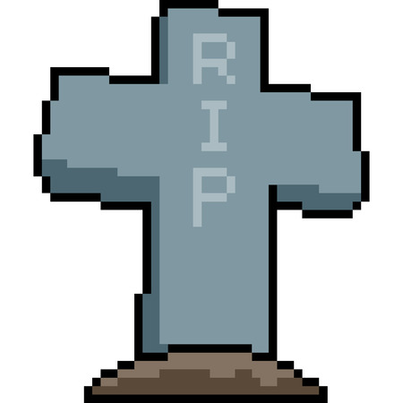 vector pixel art grave isolated cartoon