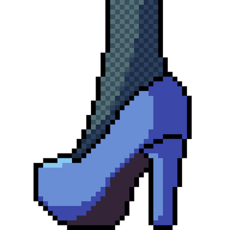 vector pixel art high heels fashion isolated cartoon Illustration