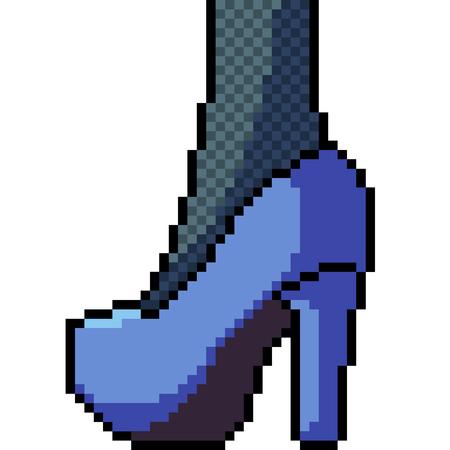 vector pixel art high heels fashion isolated cartoon  イラスト・ベクター素材