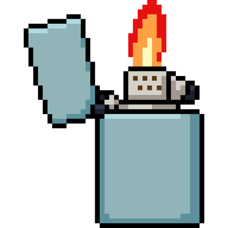 vector pixel art lighter isolated cartoon