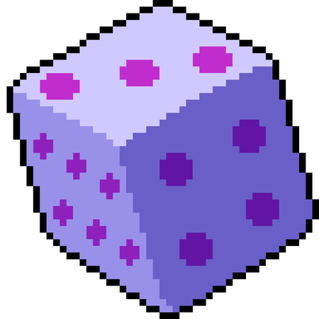 vector pixel art dice roll isolated cartoon