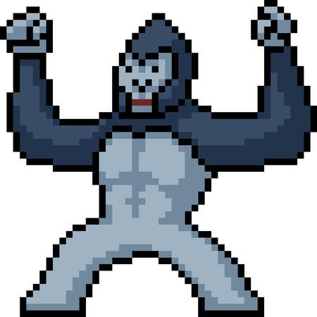 vector pixel art gorilla isolated cartoon Standard-Bild - 110259593